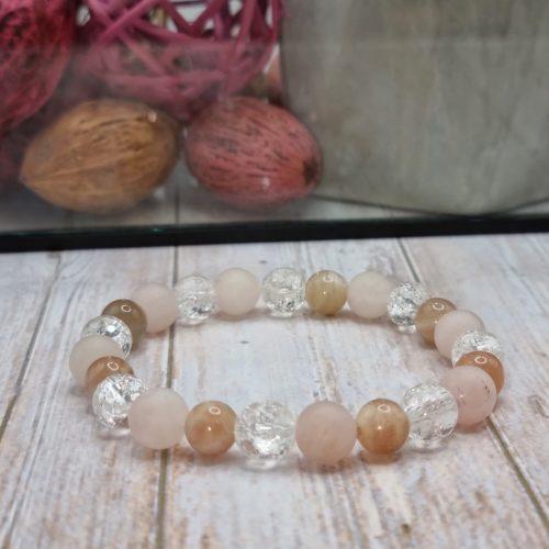 Rózsakvarc-Holdkő-Hegyikristály karkötő